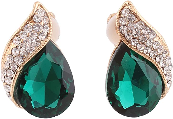 AD Luxury Jewellery Crystal Drop Stud Earrings For Women Green SALE!!