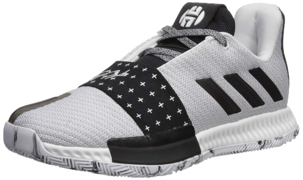 adidas Unisex Harden Vol. 3 Basketball Shoe, White/Black/Light Solid Grey, 4.5 M US Big Kid