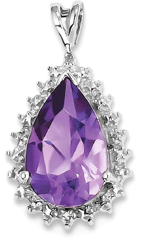 ICE CARATS 925 Sterling Silver Purple Amethyst Diamond Pear Pendant Charm Necklace Gemstone Fine Jewelry Gift Set For Women Heart