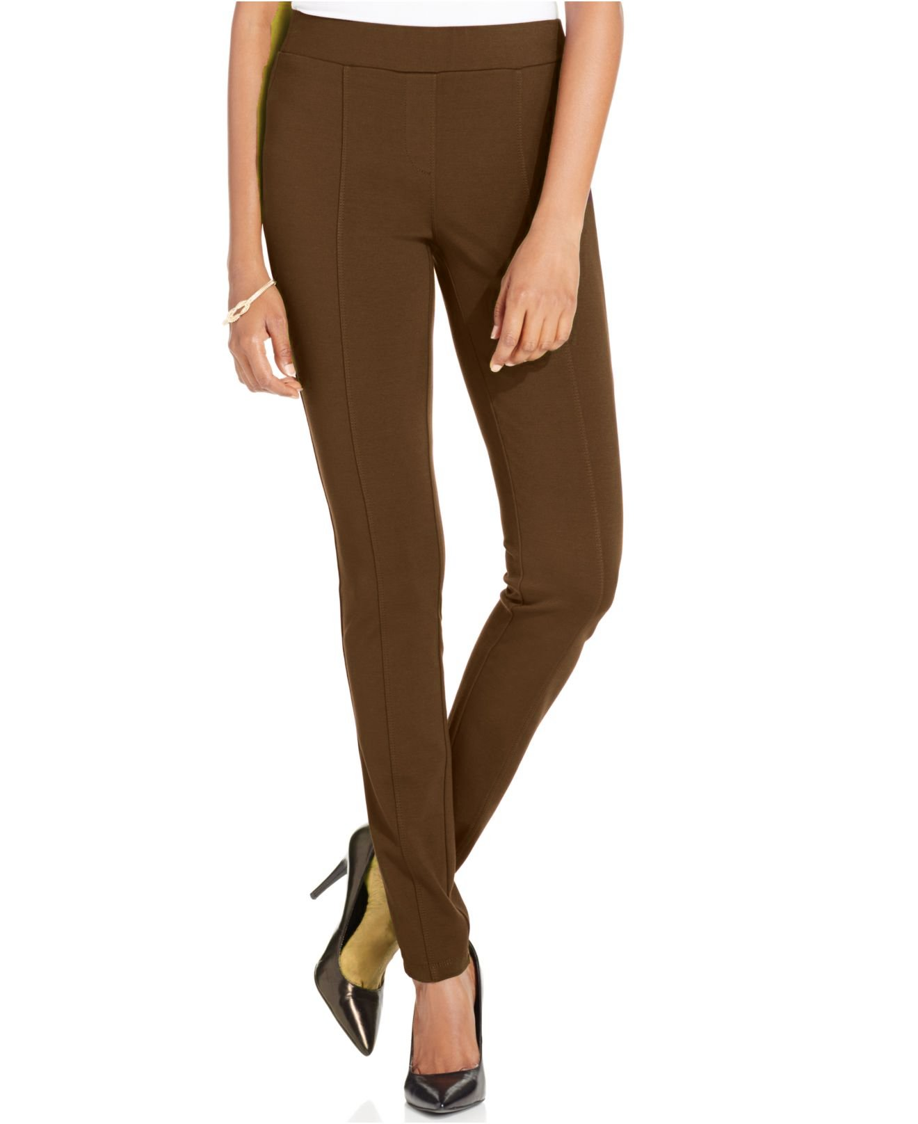 Style & co. Stretch Seam-Front Ponte Leggings (Medium, Espresso Bean)