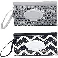 Dispensador de toallitas húmedas, portátil, diseño de ondas negras y grises, contenedor rellenable, ligero, para…