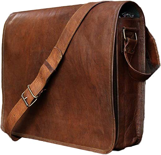 Mens Vintage Genuine Leather Messenger Satchel Laptop