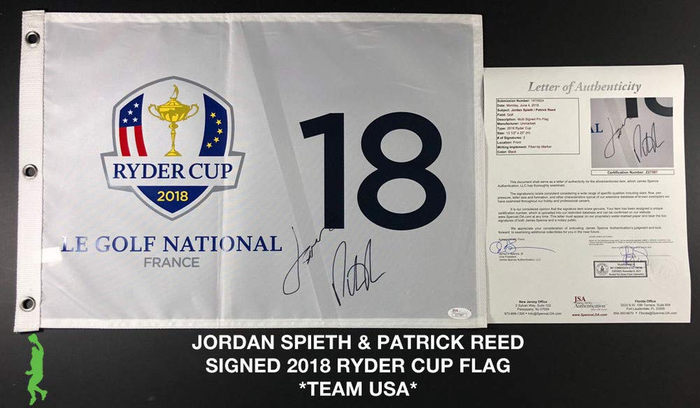Jordan Spieth Patrick Reed Signed Autograph 2018 Ryder Cup Flag Sports Memorabilia JSA Certificate of Authenticity Included Loa