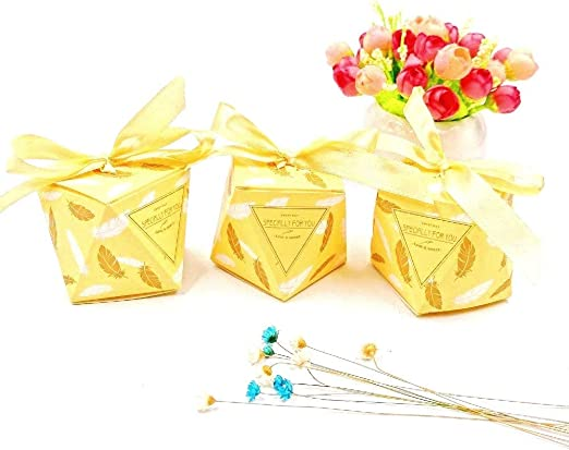 JZK 50 Forma Diamante Cajas Favor Amarillo con Cintas Caja Dulces ...