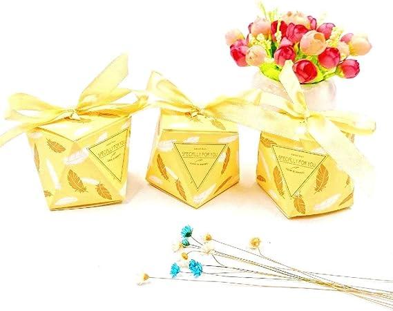 Bomboniere Matrimonio Gialle.Jzk 50 Forma Diamante Giallo Oro Scatola Portaconfetti Scatolina