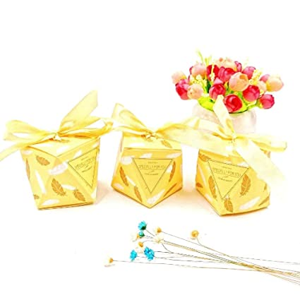 JZK 50 Forma diamante cajas favor amarillo con cintas caja dulces papel para boda cumpleaños Navidad