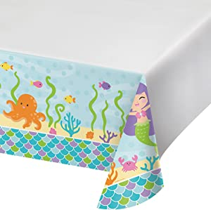 Creative Converting 317702 Party Supplies Tablecover, 54 x 102, Mermaid Friends