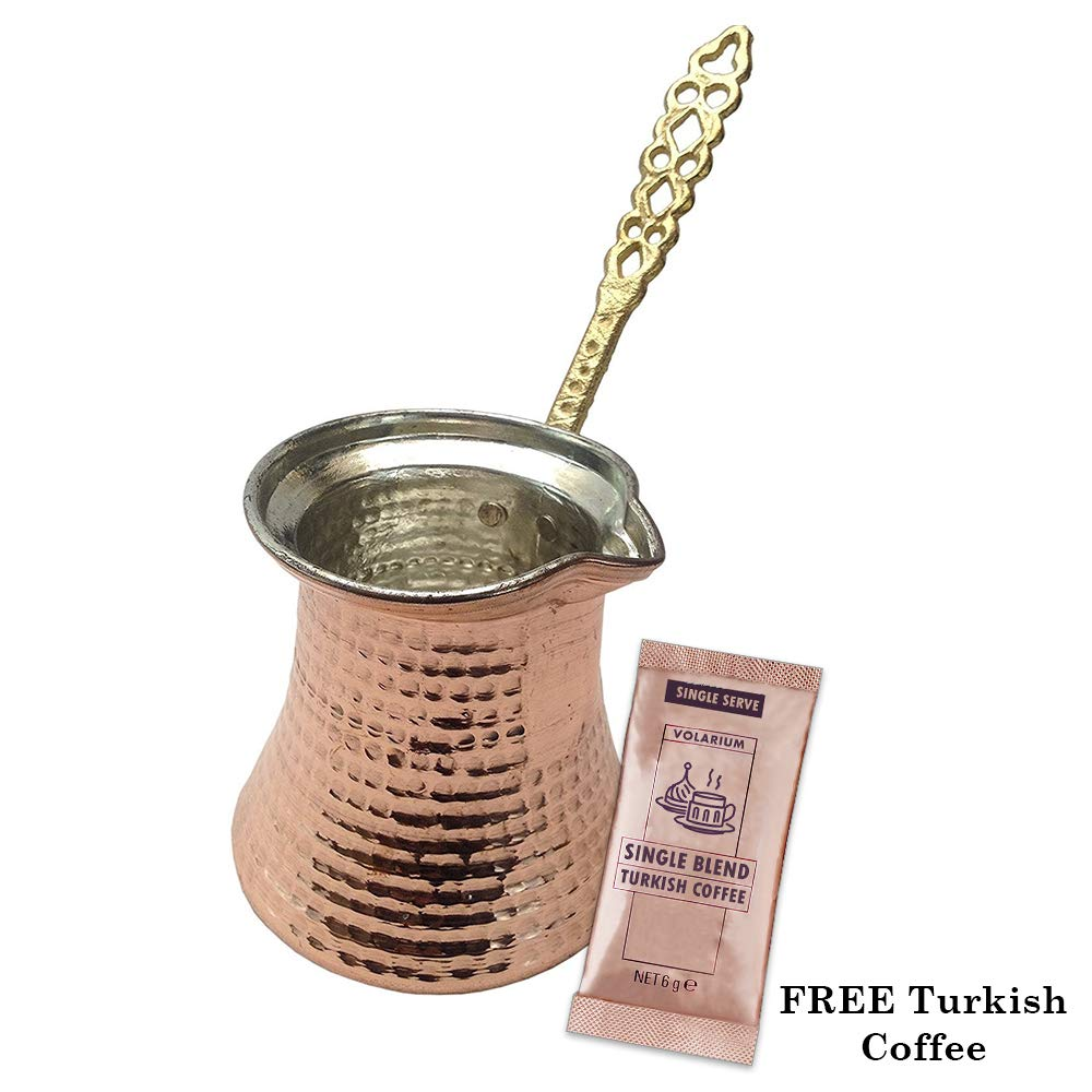 Turkish Coffee Pot, Greek Arabic Coffee Maker, Hammered Cooper Coffee Cezve, Copper Pot, Stove Top Coffee Maker, Large 14.4 fl oz Capacity