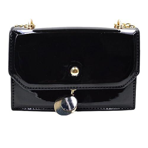59e3d8906546 Women Solid Color Patent Leather Cross Body Bag Chain Shoulder Bag Mini  Handbag (black)