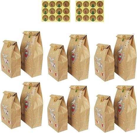Amosfun - Lote de 24 Bolsas de Papel Kraft navideñas para Regalo de Caramelo, Estampado de Animales con Pegatinas para Recuerdos de Fiesta de Navidad: Amazon.es: Hogar