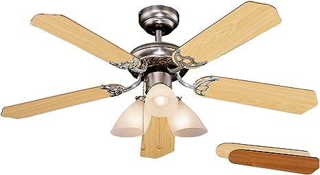 Orbegozo CT 23105 Ventilador de techo con luz, 5 palas reversibles ...