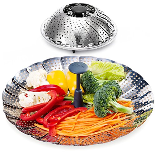 Vegetable Steamer Basket, X-Chef Stainless Steel Vegetable Steamer with Extendable Handle (7.2