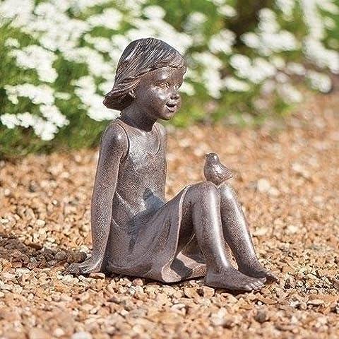 Roman Bronze Look Girl Sitting with Bird Outdoor Resin Garden Statue or Figurine 10.75