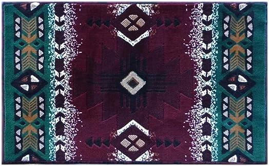 South West Native American Door Mat Area Rug Design C318 Burgundy 24 Inch X 40 Inch