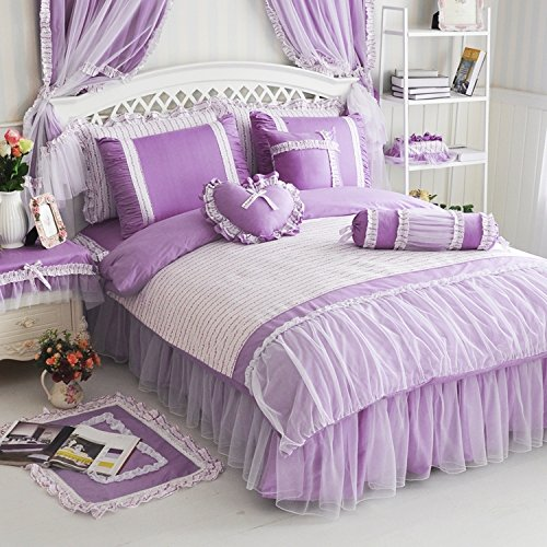 MeMoreCool Home Textile Sweet Girls Design Style Floral Lace Princess Bedding Girly Purple Ruffle Duvet Cover Sets Fashion Exquisite Falbala Bed Skirt Full Size 4Pcs