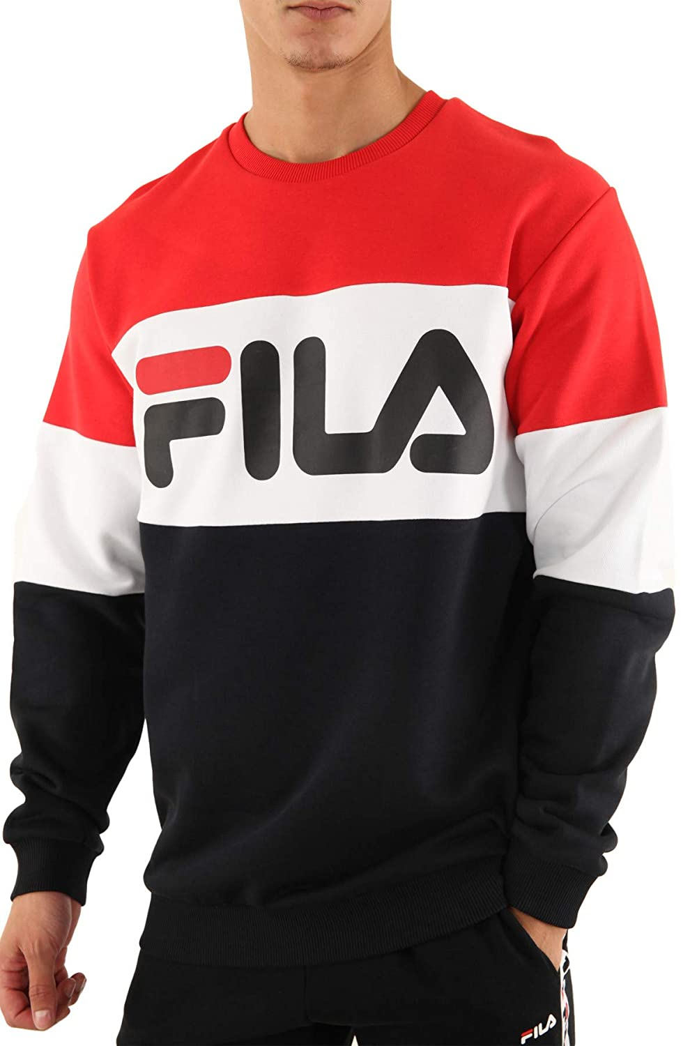 Fila Felpa Men Straight Blocked Crew Felpa Girocollo Uomo Red 681255