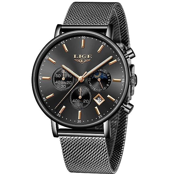 LIGE Reloj Hombre Deportivo Impermeable Inoxidable Reloj Moda Casual Calendario Cuarzo Analógico Correa De Malla Negro Reloj …