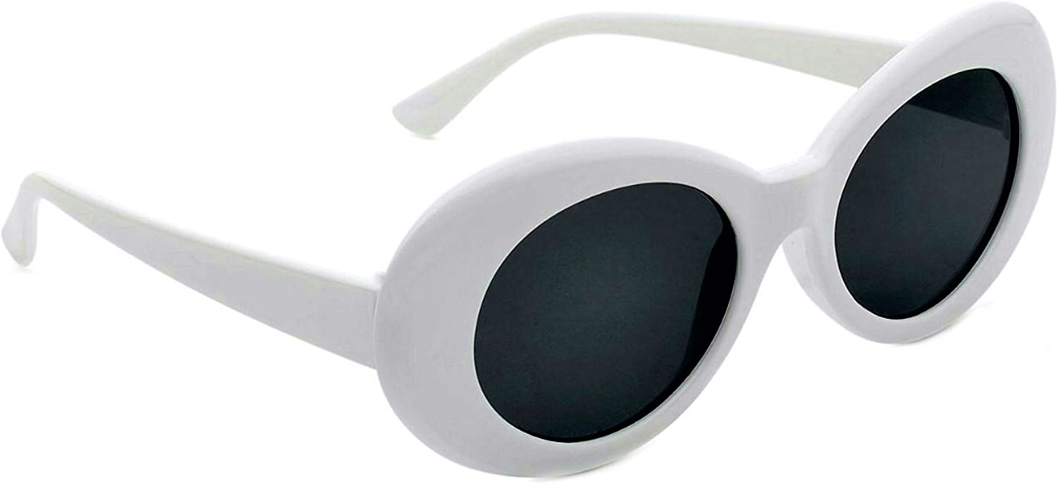 Women Fashion White Round vintage Retro Sunglasses Smokey lens UV400 Blocks99.9/%