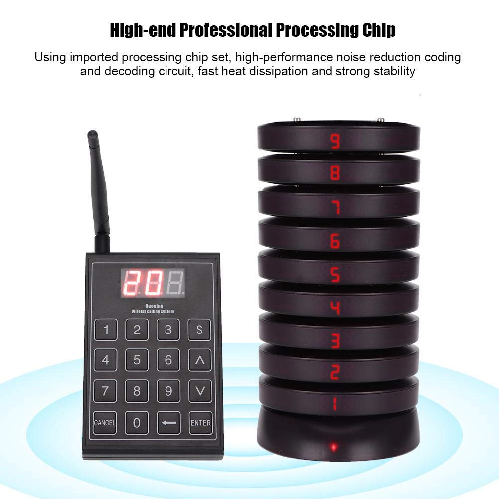 Restaurant Pager System SU-680 Wireless Queuing Calling System Restaurant Guest Paging Buzzers with 10 Coaster Pagers and 1 Numeric Keyboard Transmitter for Restaurant Clinic Church Cafe Shop UK