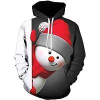 Robemon Men's Jumper Christmas 3D Printed Pullover Long Sleeve Hooded Sweatshirt Tops Blouse