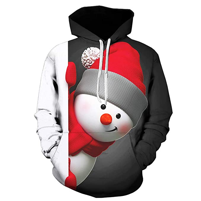 1d06f33baced Men s 3D Snowman Print Christmas Hoodies Ugly Xmas Long Sleeve Pullover  Sweatshirt with Pocket (M