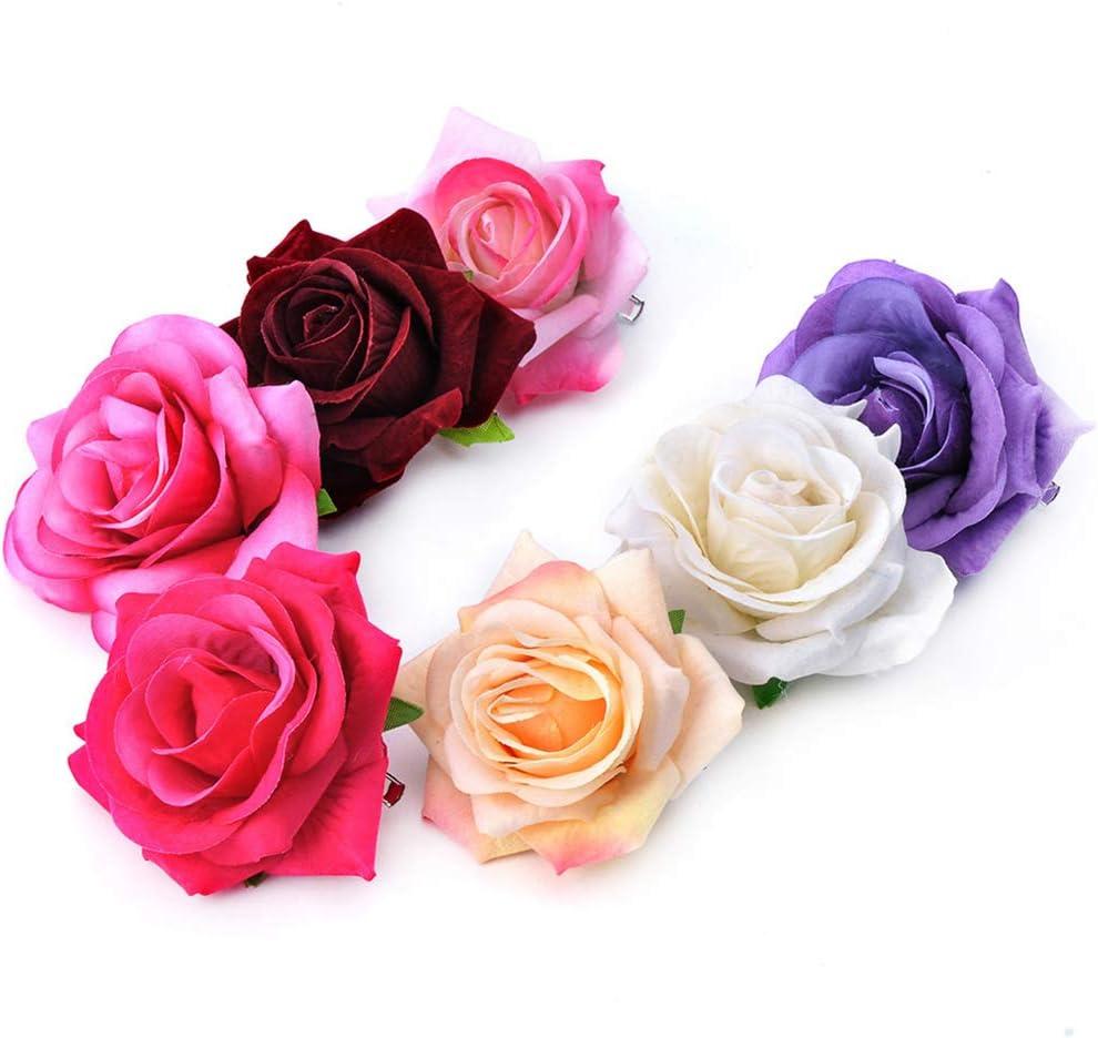 osfanersty Mujeres Velvet Cloth Rose Clip De Pelo Simulaci/ón Artificial Ramillete De Flores Broche Pin Banquete De Boda Bailarina De Flamenco Accesorios para El Cabello