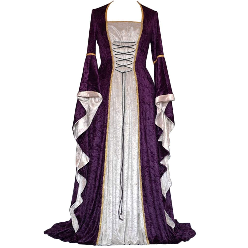 ℱLOVESOOℱ Renaissance Medieval Costume Dress for Women, Trumpet Sleeves Fancy Gothic Lace Up Over Long Dress Cosplay Gown Purple by ℱLOVESOOℱ