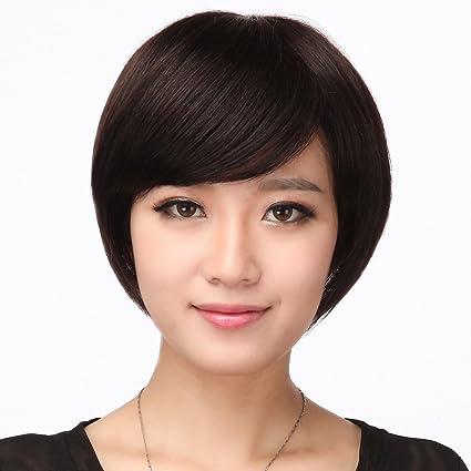 Fácil y forma cómoda y de pelo humano pelucas Mujeres Medianas alters y antiguos corta pelo