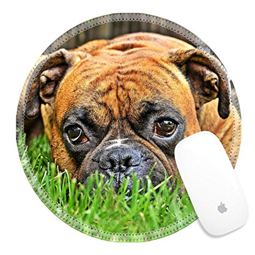 - Luxlady Round Gaming Mousepad 30889265 pure bred boxer dog portrait close up on natural background