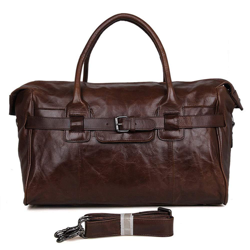 旅行バッグ スタイリッシュなシンプルさレザーラゲッジバッグの第一層レザーメンズトラベルバッグポータブルメッセンジャーバッグ スポーツバッグ トラベルバッグ (色 : Chocolate) B07P6XBLN9 Chocolate