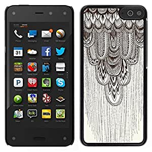 // PHONE CASE GIFT // Duro Estuche protector PC Cáscara Plástico Carcasa Funda Hard Protective Case for Amazon Fire Phone / pencil drawing art beige pattern feather /