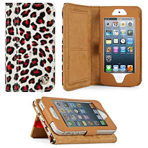 Gold Leopard Design VG Faux Leather Standalone Case for Apple iPhone 5 & Apple iPod Touch 5 (Compatible with All Models)