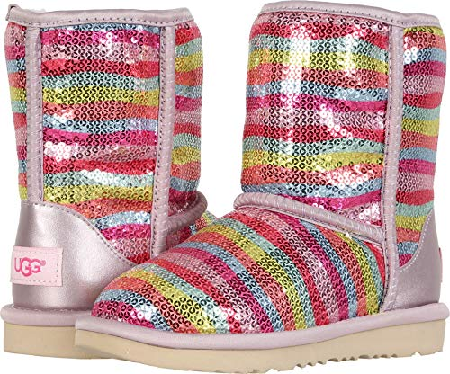 (UGG Girls' T Classic Short II Mural Fashion Boot, Rainbow, 12 M US Little)