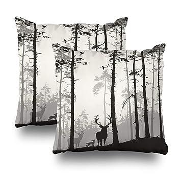 Amazon.com: Alricc Silueta de un bosque de pino con una ...
