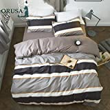 Cotton Striped Boys Twin Duvet Cover Sets Multi Color 3 Piece Bedding Sets Twin for Teen Man Kids with 2 Pillow Shams (Twin, Style 1)