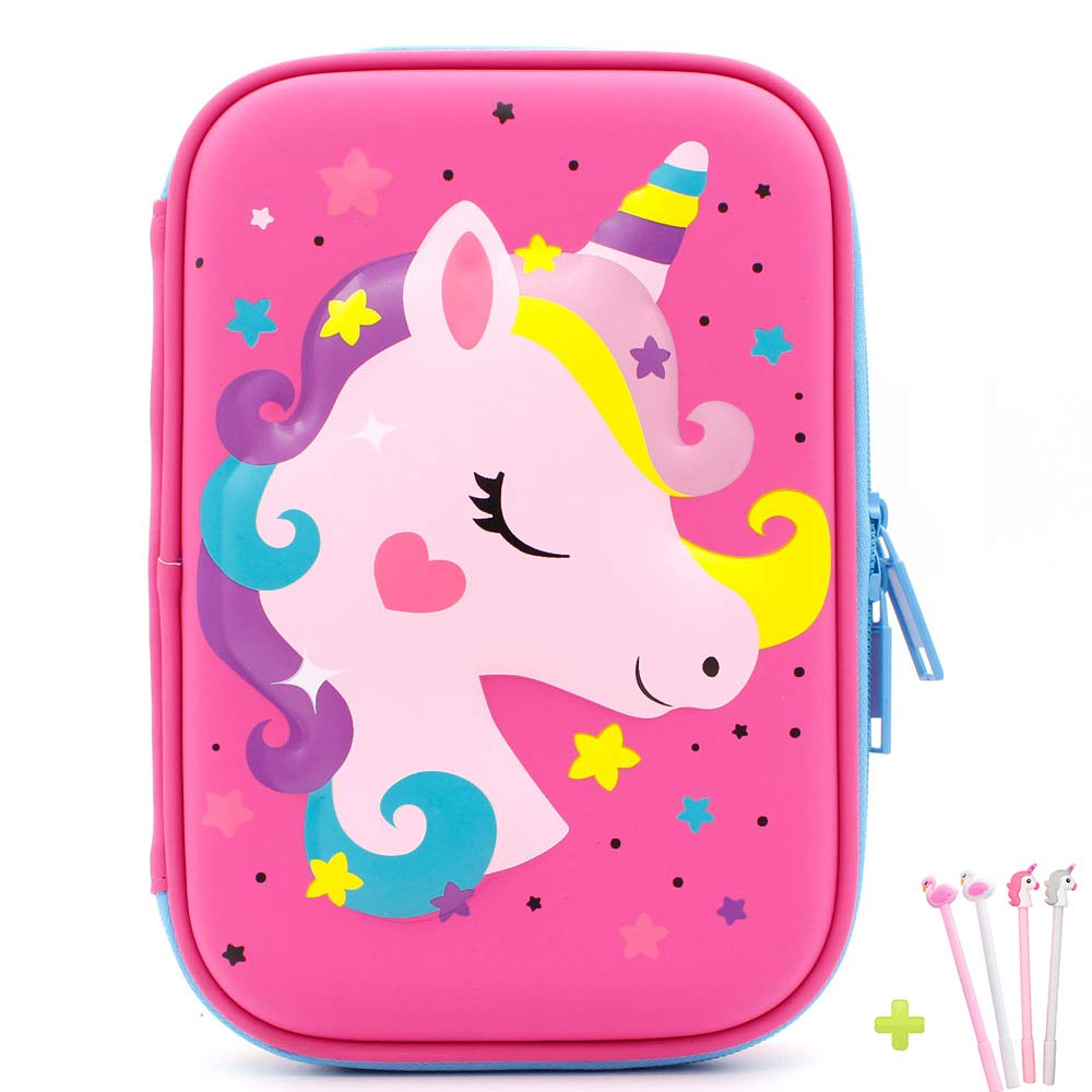 iDelta Unicorn Pencil Case, EVA Pen Pouch Stationery Box Anti-Shock for School Students Girls Teens Kids (Unicorn2 Pink)