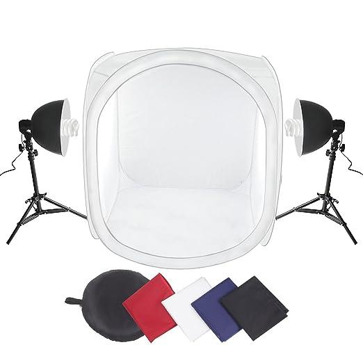 29 opinioni per Amzdeal® Studio Fotografico Tenda Studio cubo di 80cm x 80cm x 80 cm con lampada