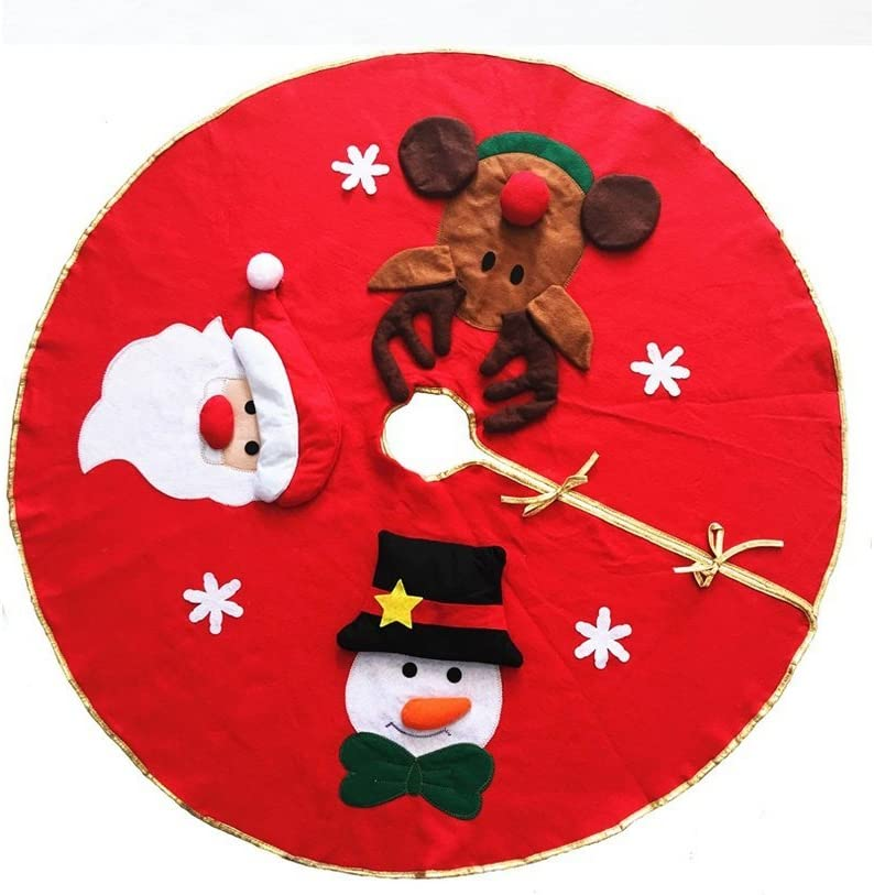 ELFJOY 40 Inch Christmas Tree Skirt with Santa Claus Reindeer Snowman for Xmas Decoration Party Supply 40 inch