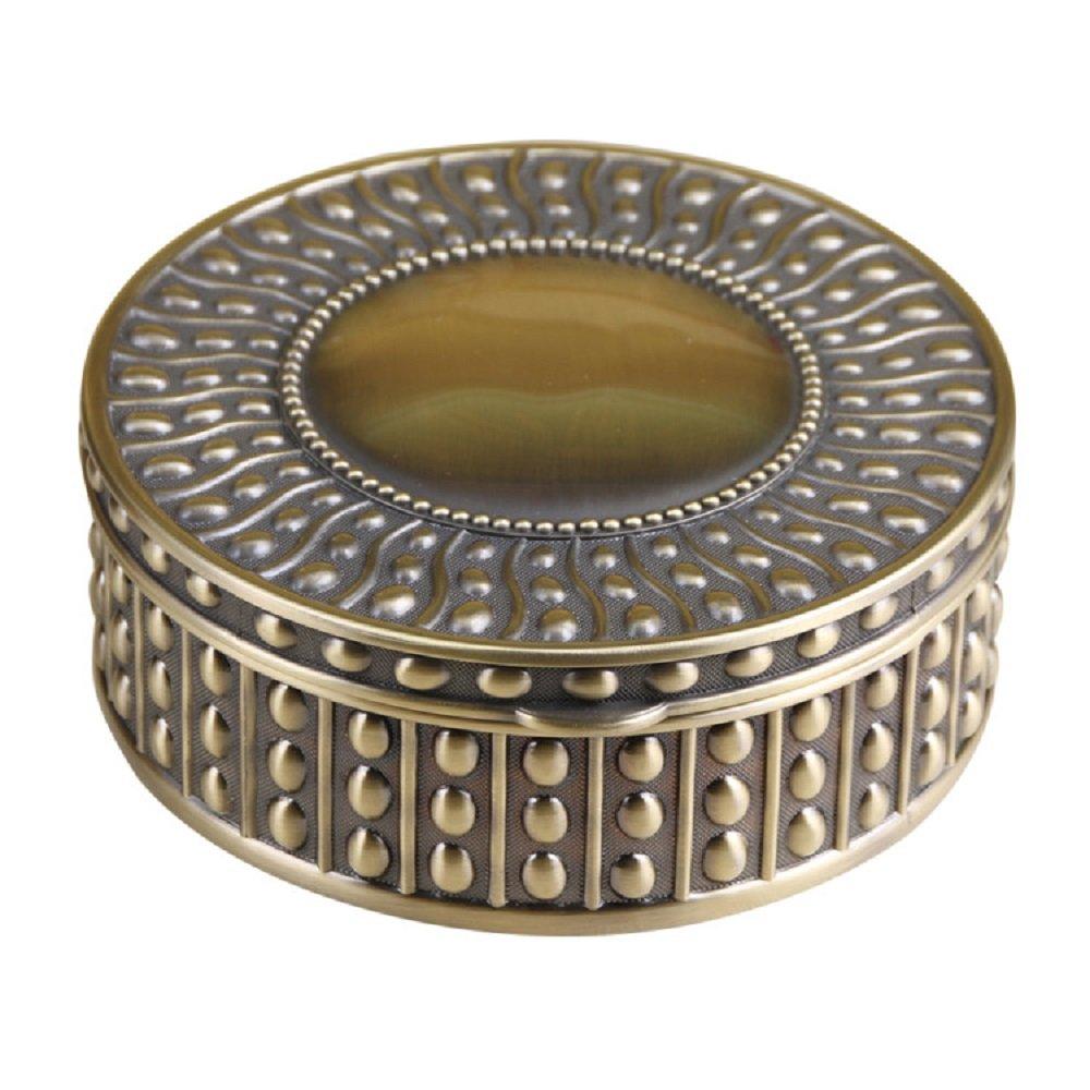 Decorative Vintage Antique Round Shape Jewelry Treasure Chest Box,Metal Zinc Alloy Trinket Box Bronzen,Unique Keepsake Gift Case for Home Decor -Dia5.5'' x 2''