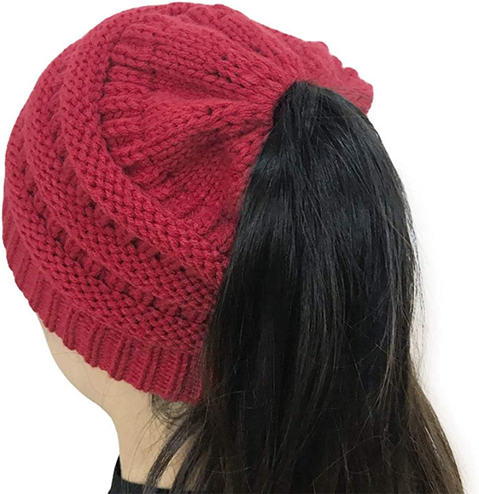 MJ-Young New Winter Ponytail Hats for Women Knitted Hat Skull Beanies Warm Cap Female Baggy Caps