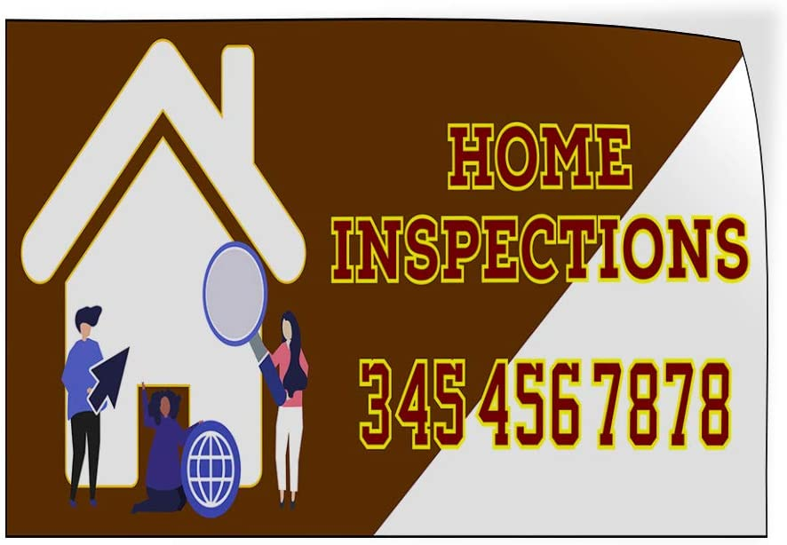 Custom Door Decals Vinyl Stickers Multiple Sizes Home Inspections Phone Number Brown Business Home Inspections Outdoor Luggage /& Bumper Stickers for Cars Brown 42X28Inches Set of 5