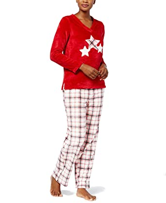 150f448202 Charter Club Plush Fleece Pajama Set (Red Plaid) at Amazon Women s ...