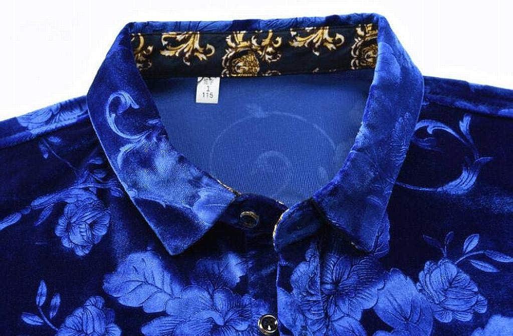 MOUTEN Mens Long Sleeve Floral Print Button Down Regular Fit Business Dress Shirts