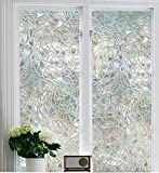 "Soqool Decorative Window Film Stained Glass Window Film 3D Window Covering No Adhesive Vinly Film Window Cling Decor for Window 17.7""x 78.7"" Inch"