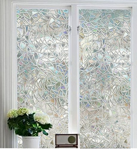 Soqool Decorative Window Film Stained Glass Window Film 3D Window Covering No Adhesive Vinly Film Window Cling Decor for Window 17.7''x 78.7'' inch by Soqool