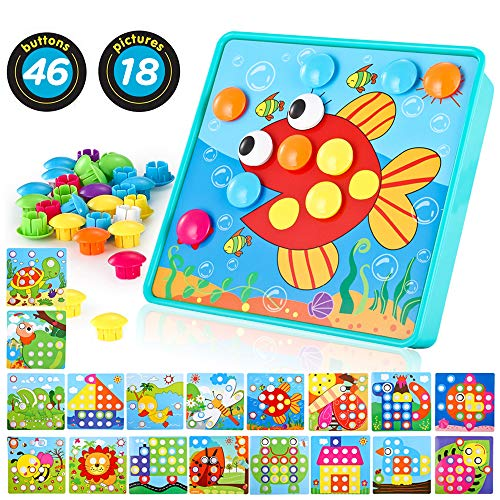 Baby Color Button Art Toys for Toddler, DIY Educational Learning Toy with 46 pcs Pegs and 18 pcs Templates
