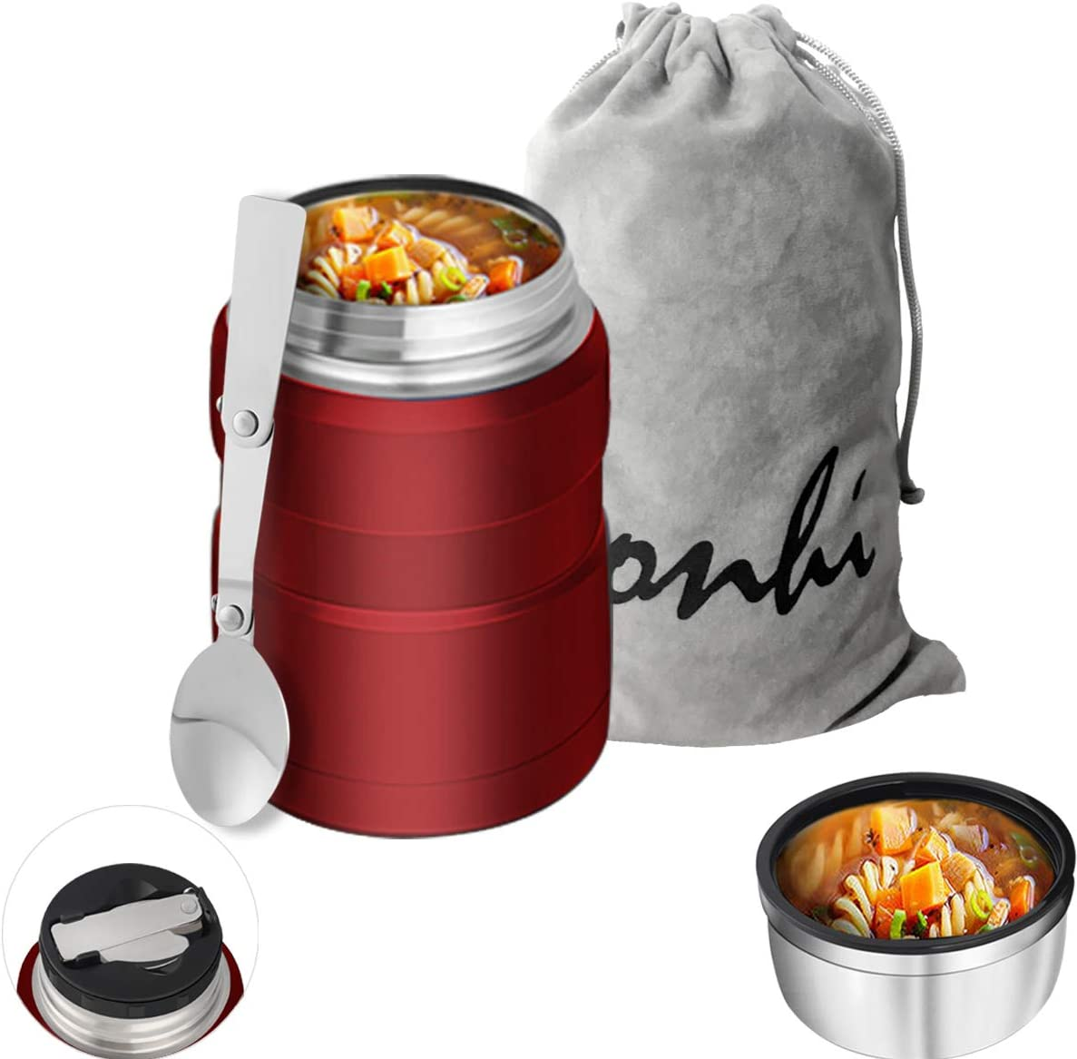 Yonhi Stainless Steel Food Thermos with Lid, Kids Lunch Thermos Hot Food,Iinsulated Lunch Jar Hot Food 16 Ounce (Red)
