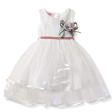 eed48d6123a NNJXD Petites Filles Dentelle brodée Creux de fête d anniversaire de  Mariage Robe de Princesse  Amazon.fr  Vêtements et accessoires