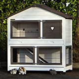 Animalhouseshop.de Kaninchenstall Excellent Medium Whitewash-Brown/Grey Mit Isolierset und Nageschutz 125x67x132cm