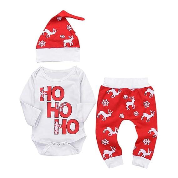 QUICKLYLY 3pcs Navidad Conjuntos de Ropa para Bebé Niña Niño Carta Impresión Mameluco Tops + Ciervos Pantalones + Sombrero Trajes Ropa 0~24 Meses